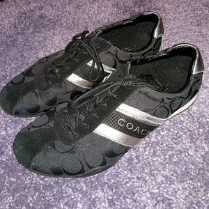 Black and Silver Coach Tennis Shoes